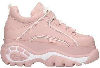 Buffalo David Bitton Classic Platfor Sneakers In Rose-pink Leather