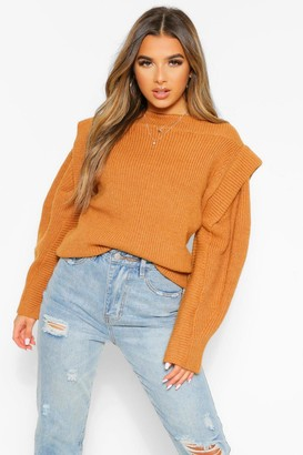 boohoo Petite Knitted Cap Shoulder Long Sleeve Sweater