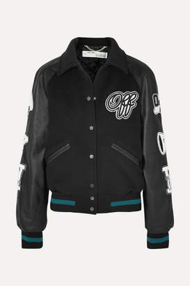 Off-White Off White Appliqued Wool-blend And Leather Jacket - Black