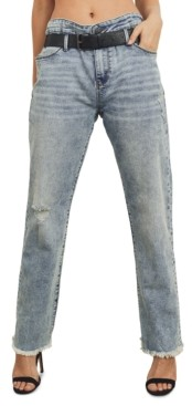 KENDALL + KYLIE Juniors' High Rise Belted Frayed Jeans