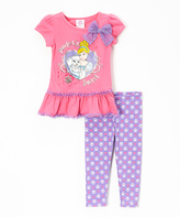 Children's Apparel Network Pink Palace Pets Tutu Tee & Purple Paw Print Leggings - Toddler