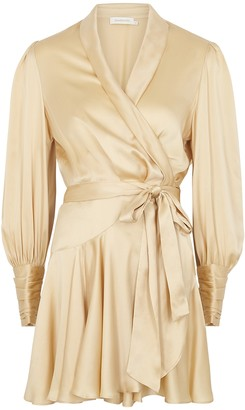 Zimmermann Champagne Silk-satin Wrap Dress