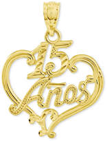 Macy's 14k Gold Charm, Diamond-Cut 15 Anos Heart Charm