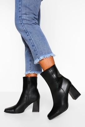 boohoo Block Heel Square Toe Sock Boot