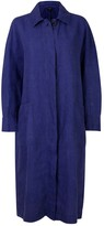 Nologo Chic Garment Washed Linen Coat - French Ultramarine Blue