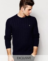 Farah Jumper With Cable Knit Exclusive - Blue