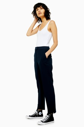 Topshop Womens Navy Regular Cigarette Trousers - Navy Blue