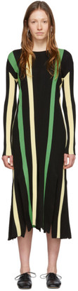 Loewe Black and Yellow Stripe Rib Knit Dress