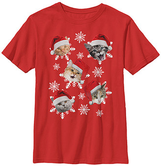 Fifth Sun Boys' Tee Shirts RED - Red Santa Hat Cats Tee - Boys