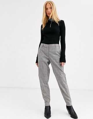Selected check trousers-Grey