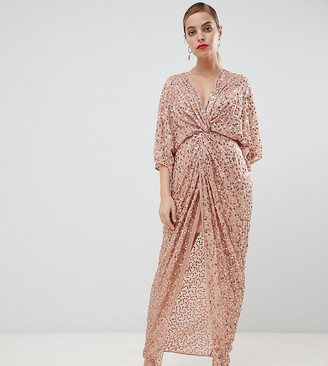 Asos DESIGN Petite scatter sequin knot front kimono maxi dress-Pink