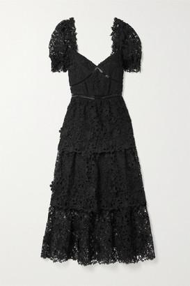 Self-Portrait Crochet-trimmed Tiered Guipure Lace Midi Dress - Black