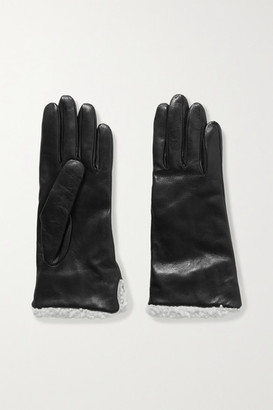 CLYDE Shearling-trimmed Leather Gloves - Black