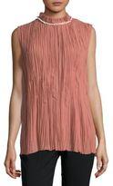Nina Ricci Shell-Trim Silk Crinkle Tunic