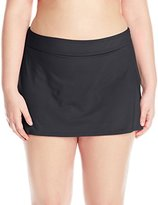 Anne Cole Women's Plus-Size Solid Rock Skirted Bikini Bottom