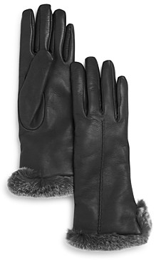 Bloomingdale's Rex Rabbit Fur Trim Leather Gloves - 100% Exclusive