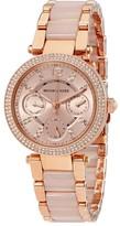 Michael Kors Parker Mini Multi-Function Rose Dial Rose Gold-tone and Blush Acetate Ladies Watch