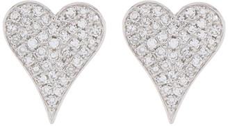 Ron Hami 14K White Gold Pave Diamond Heart Shaped Stud Earrings - 0.17 ctw