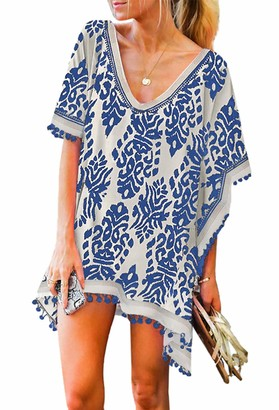 Happy Sailed Womens Pom Swimsuit Cover Up for Women Chiffon Beach Coverup Dress Stylish Kaftan Summer Size 8