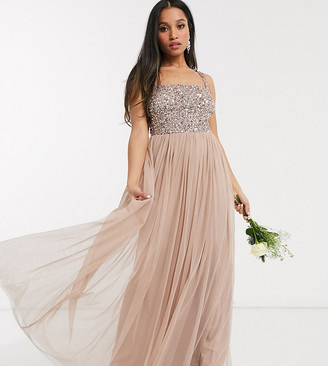 Maya Petite Bridesmaid sleeveless square neck maxi tulle dress with tonal delicate sequin in taupe blush
