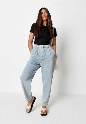 Missguided Blue Highwaisted Pleated Slouch Jeans