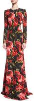 Naeem Khan Long-Sleeve Floral-Print Open Back Gown, Black/Red