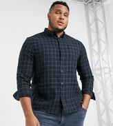Topman Big & Tall long sleeve shirt in mini black check-Green