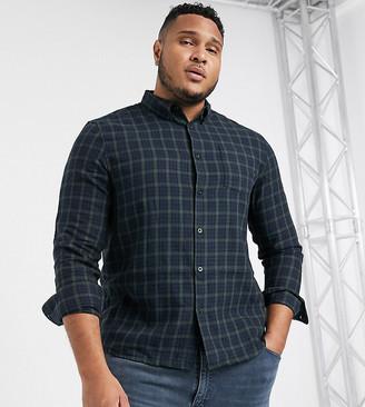 Topman Big & Tall long sleeve shirt in mini black check