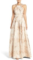 Eliza J Embellished Floral Jacquard Fit & Flare Gown