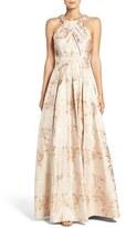 Eliza J Women's Embellished Floral Jacquard Fit & Flare Gown