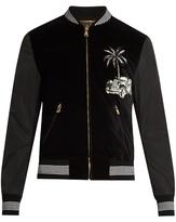 Dolce & Gabbana Embroidered Velvet Bomber Jacket
