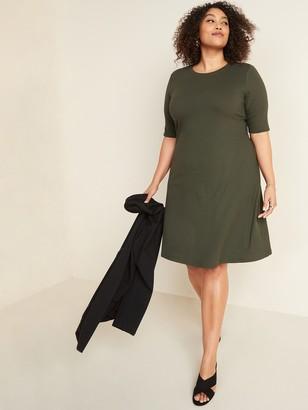 Old Navy Rib-Knit Fit & Flare Plus-Size Dress