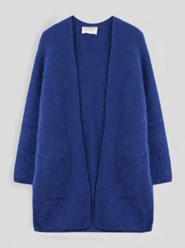 American Vintage Fogwood Boucle Wool Mix Cardigan in Atlantic Melange - XS/S