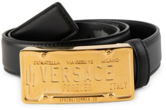 Versace Logo License Plate Leather Belt