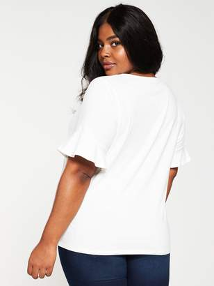 V By Very Curve Lace Insert Top - Ivory