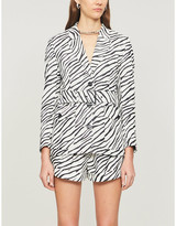 The Kooples Zebra-print linen safari jacket