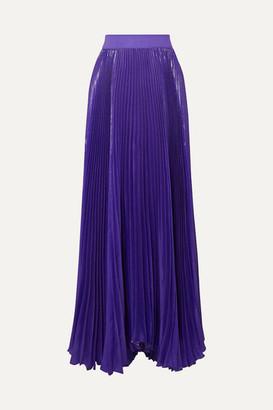 Alice + Olivia Alice Olivia - Katz Pleated Metallic Silk-blend Maxi Skirt - Purple