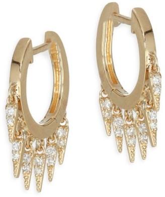 Sydney Evan 14K Yellow Gold & Diamond Small Fringe Hoop Earrings