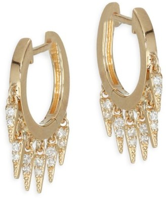 Sydney Evan 14K Yellow Gold & Diamond Small Fringe Hoops