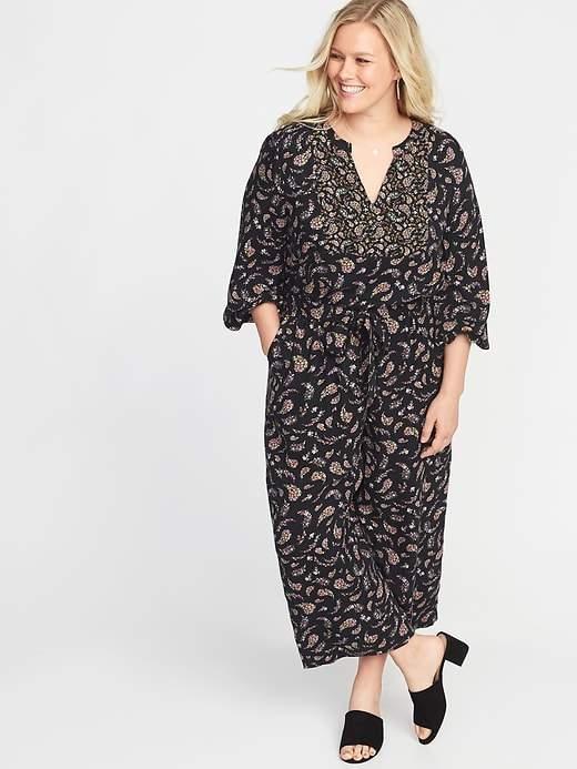Floral-Paisley Tie-Belt Plus-Size Jumpsuit