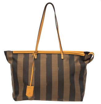 Fendi Brown/Mustard Pequin Canvas and Leather Roll Tote