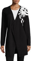Neiman Marcus Shoulder-Embroidered Long Cardigan, Black/White