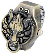 Coostyle Vintage Copper Dragon Quartz Clamshell Ring Watch (With Gift Box and Greeting Card)