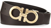 Salvatore Ferragamo Double-Gancio Reversible Leather Belt, Nero/Hickory
