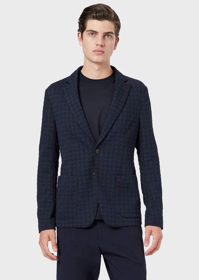 ae810f9982 Single-Breasted Jacket In Houndstooth Jacquard Fabric