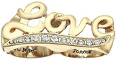 Betsey Johnson Crystal and Gold Love Double Ring Ring