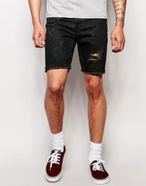 Asos Denim Shorts In Slim With Rip And Repair Detail