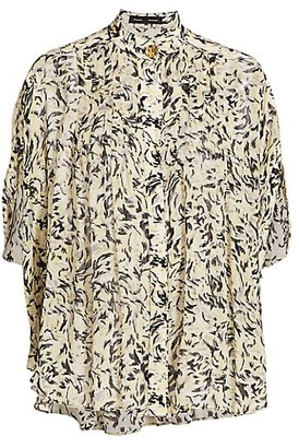 Proenza Schouler Abstract Printed Chiffon Blouse