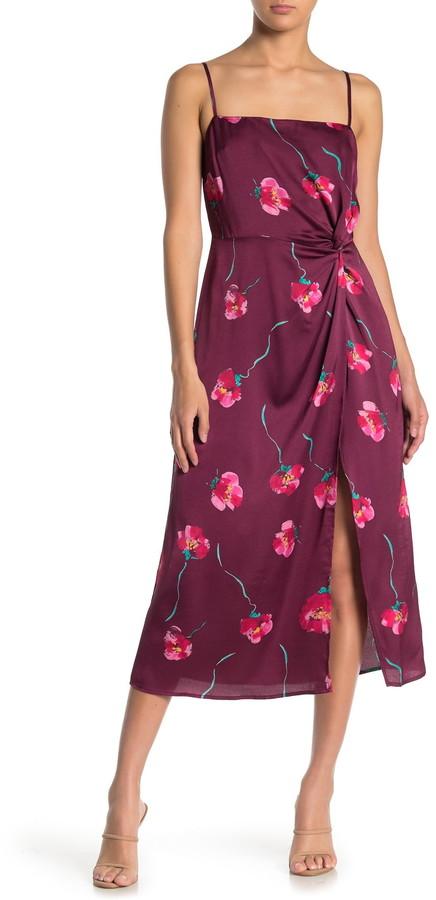 Lush Floral Twist Slit Satin Midi Dress