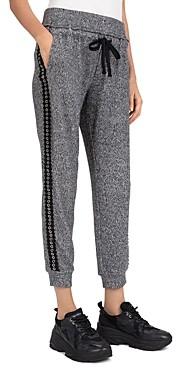 The Kooples Eyelet Tuxedo Stripe Fleece Jogger Pants